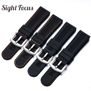 22mm Colorful Stitching Watchband for Seiko Citizen Solar Breitling Rubber Watch Strap Replacement Black Diamond Sport Bracelets
