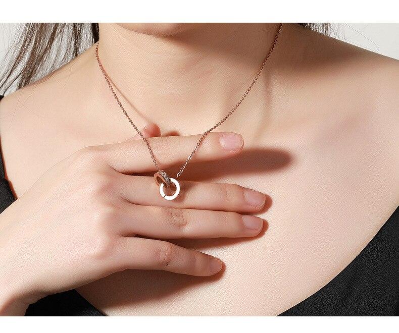 Ожерелье из нержавеющей стали с римскими цифрами и кристаллами Сваровски, ожерелье с подвеской из розового золота для женщин