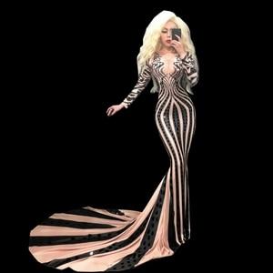 Fashion Black Sequins Long Sleeve Rhinestone Dress Women Costume Prom Party Celebrate Long Train Dress Sexy Evening Skinny Dress