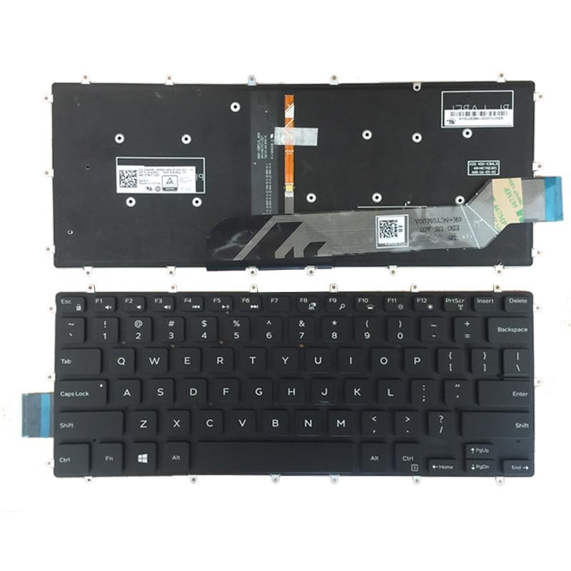لوحة مفاتيح جديدة باللون الأحمر/الأبيض للولايات المتحدة لأجهزة الكمبيوتر المحمول DELL Inspiron 5370 5379 7375 5369 5579 لوحة مفاتيح باللغة الإنجليزية مع إضا...