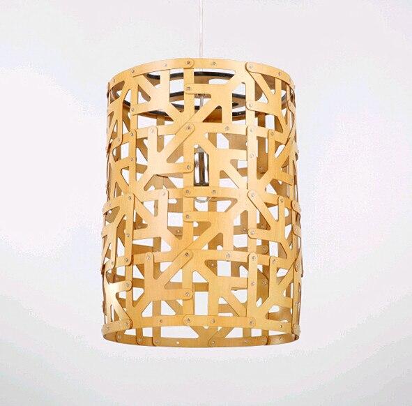 Lámpara LED E27 de estilo tradicional clásica con virutas de madera amarilla para interiores hecha a mano para bar, escaleras, porche y pabellón BT126