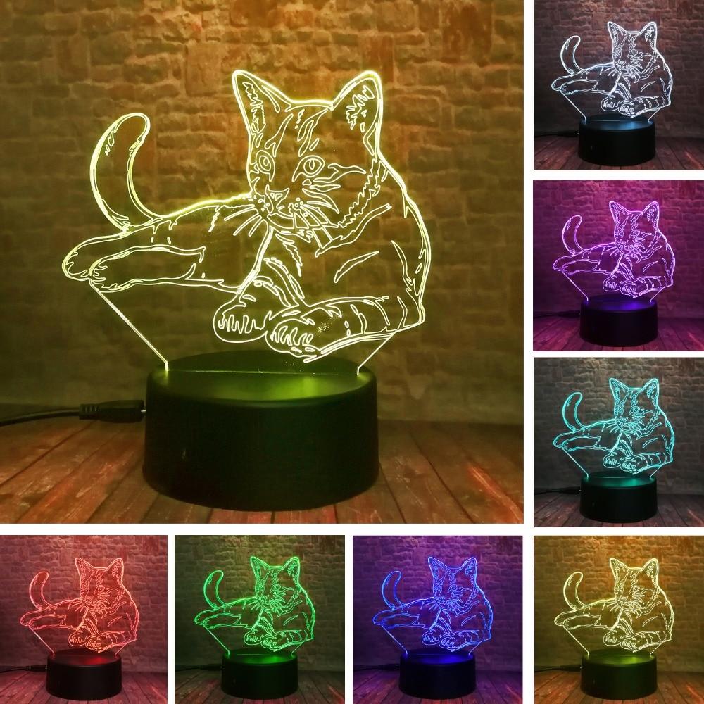 Lampe de chambre bébé avec chat couché, mignon en 3D, pour les loisirs, les cadeaux de nuit, avec la lumière colorée de la nuit, 7 enfants