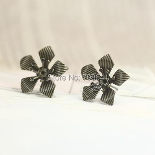 Vintage 3D Flower Blank Bases Retro Stud Earrings Pin Post Settings Blank Jewelry Findings Antique Bronze tone Plated