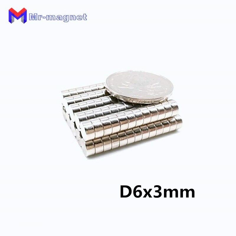 1000 шт Горячая продажа 6x3 мм магнит N35 D6x3mm супер сильный редкоземельный 6x3 магнит 6 мм x 3 мм, 6*3 маленький холодильник 6*3 мм Магниты D6 * 3 мм