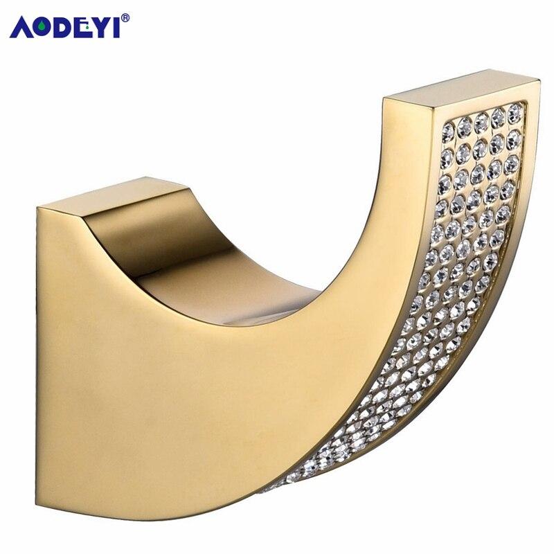AODEYI-خطافات ملابس من الكريستال التشيكي والكروم الذهبي ، شماعات ملابس ، ملحقات أجهزة الحمام