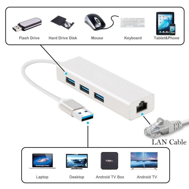 3 Ports USB 3.0 Gigabit Ethernet Lan RJ45 Network Adapter Hub to 1000Mbps pc