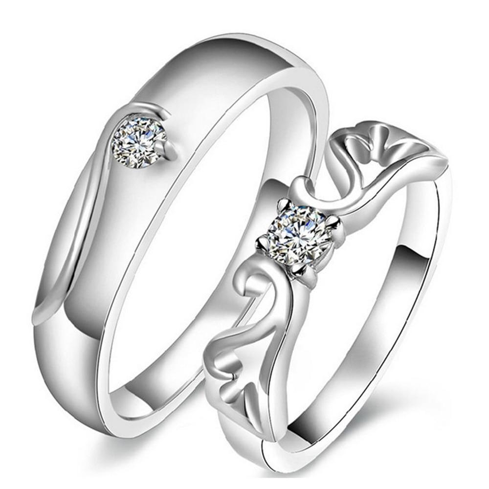 1 Pair Popular Sale Bright Solid Lady And Gentleman Wedding Love Ring Hand Jewelry Accessories ringen voor vrouwen