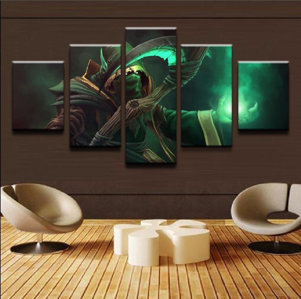 Toile cadre moderne 5 panneaux   Panneau, DOTA 2 capuche Necrophos Scythe peinture, décoration, Cuadros, décoration de la maison, images imprimées