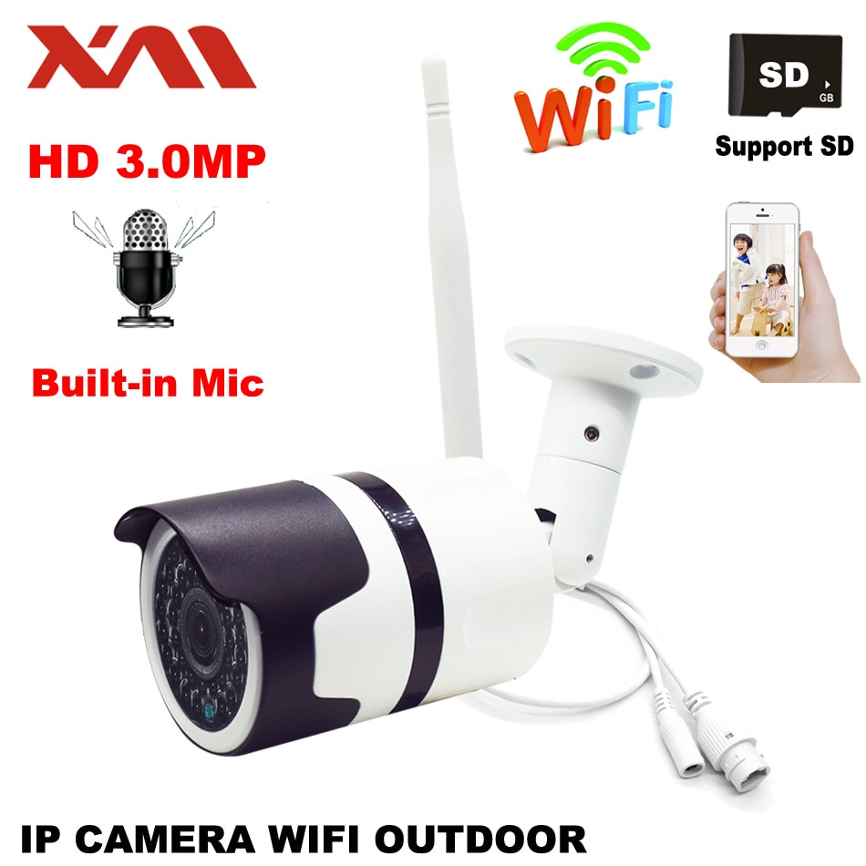 XM 3.0MP Cámara impermeable al aire libre Bullet IP Wifi inalámbrico integrado audio micrófono vigilancia Cámara soporte tarjeta de memoria CCT