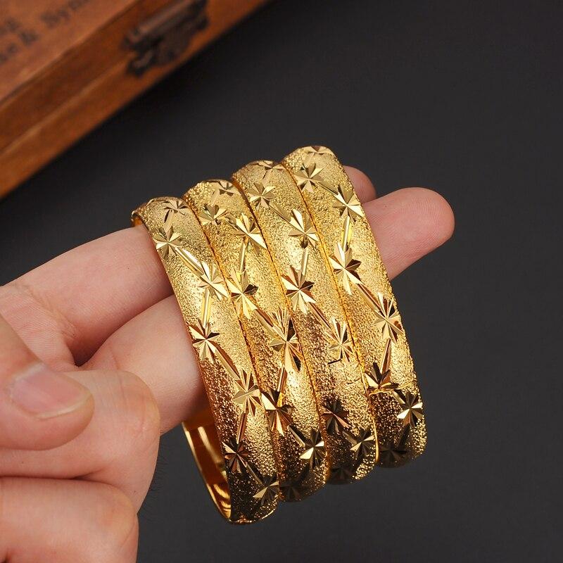 4 Uds. Pueden abrir un brazalete de oro para mujeres, oro Dubai, novia, boda, pulsera etíope, brazalete de África, Joyería Árabe, pulsera de oro