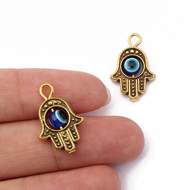 20 pièces Antique ton or Hamsa main de Fatima et bleu porte-bonheur pendentifs pour Bracelet collier boucle doreille fabrication de bijoux