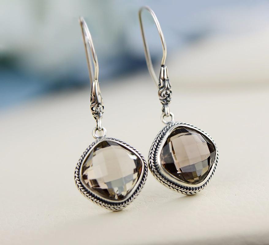 Joyería de plata de ley 925 pendientes colgantes de cuarzo ahumado Natural para mujeres joyería fina Boucles DOreilles Argent 925