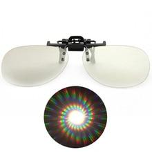 4pcs Packs Spiral/13500 Lines Per Inch Clip-on Diffraction Glasses,3D Rave Prism Grating Glasses Rainbow Firework Spirals