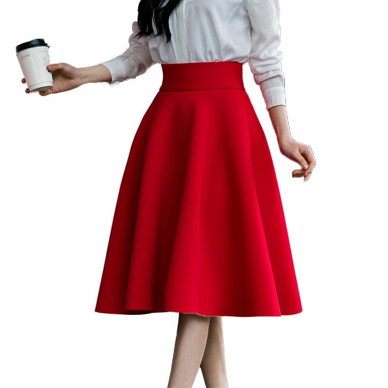 Женская Плиссированная Юбка До Колена, черная/красная/синяя, с высокой талией, большого размера 5XL, 2019