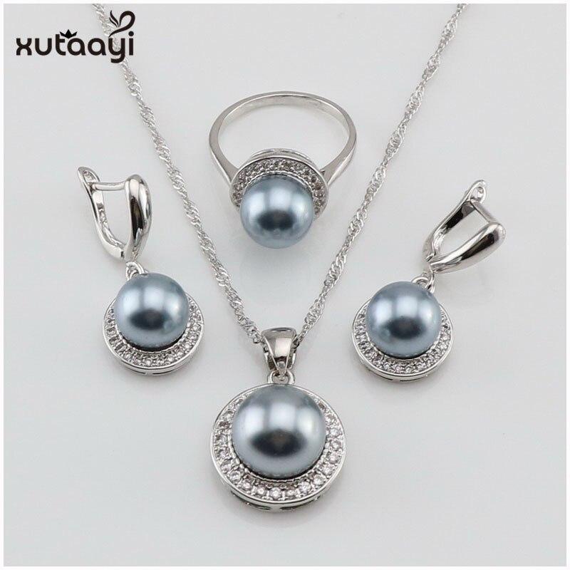 XUTAAYI, conjuntos de joyas de plata con perlas naturales, pendientes de zirconio blanco con piedras, colgantes, collares y anillos