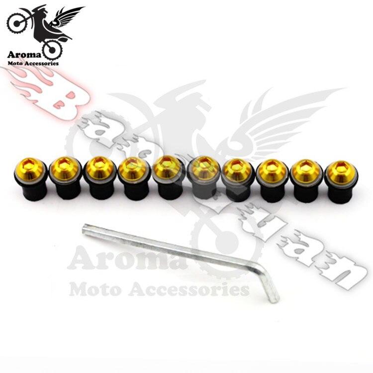 10 piezas de tuerca dorada del parabrisas de la motocicleta para yamaha honda suzuki Montaje del tornillo del parabrisas de la motocicleta para KTM motocross ATV partes