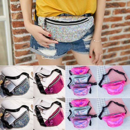 Fashion Sequin Glitter Waist Fanny Pack Belt Bum Sport Exercise Bag Pouch Hip Purse Messenger Handbag