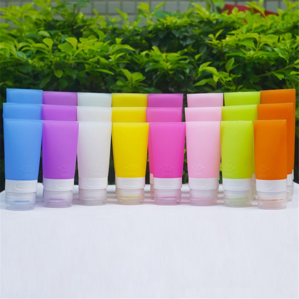 TTLIFE-bouteilles de voyage pour cosmétiques   Portable, bouteilles de cosmétique souple en silicone, bouteille de cosmétique de toilette, Lotion de douche, 4 couleurs à choisir
