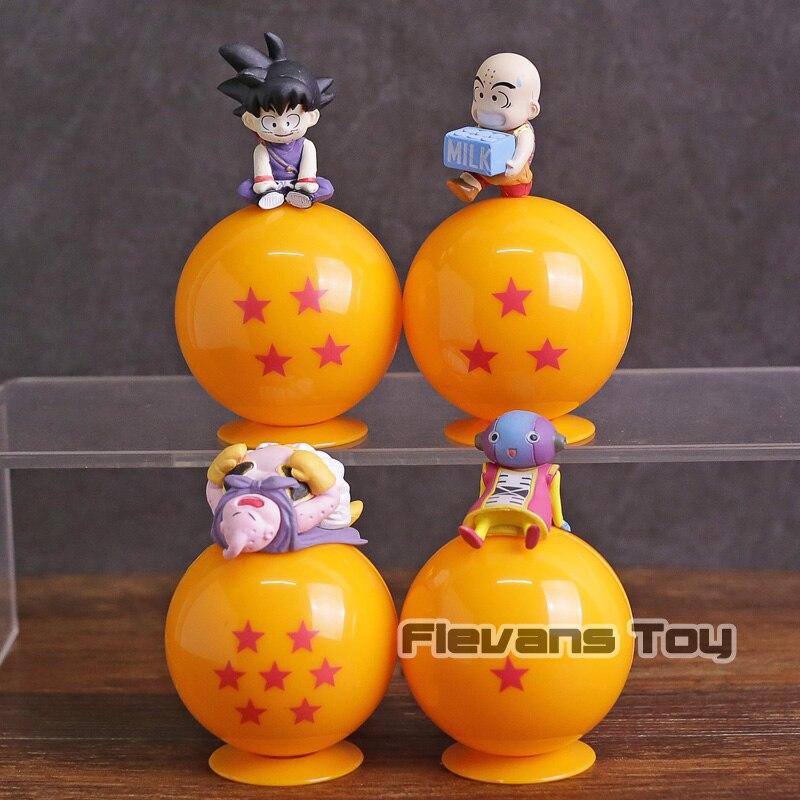 Dragon Ball Z hijo de Goku Krillin Zen o Majin Boo Buu con esfera Mini figuras de PVC de juguete 4 unids/set