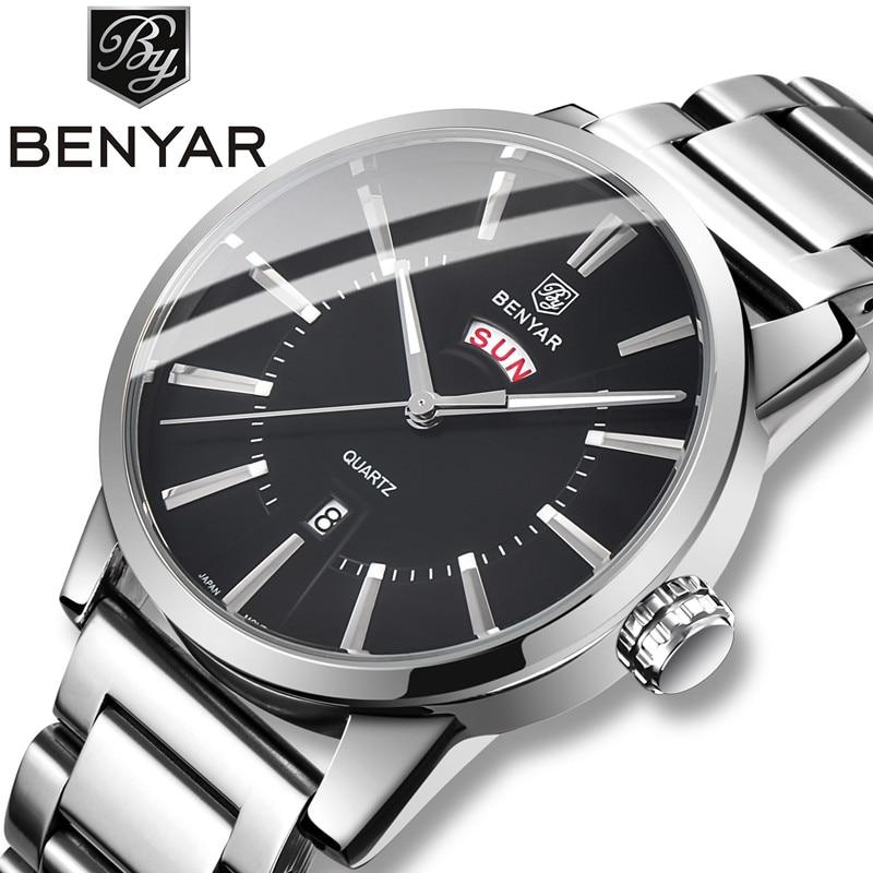 BENYAR, 2019, nuevos relojes de negocios para hombres, marca superior, reloj de cuarzo con calendario doble de lujo, reloj de pulsera deportivo para hombre, compatible con Dropshipping