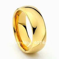 ygk 8mm golden color comfort fit tungsten carbide ring new mens wedding band