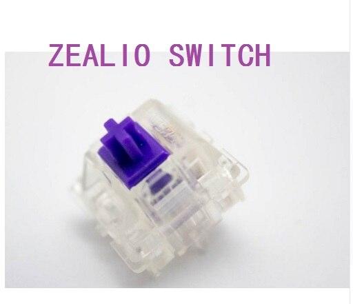 Interruptores de zealio (táctil) púrpura personalizado 62g 65g 67g 78g carcasa transparente para teclado mecánico