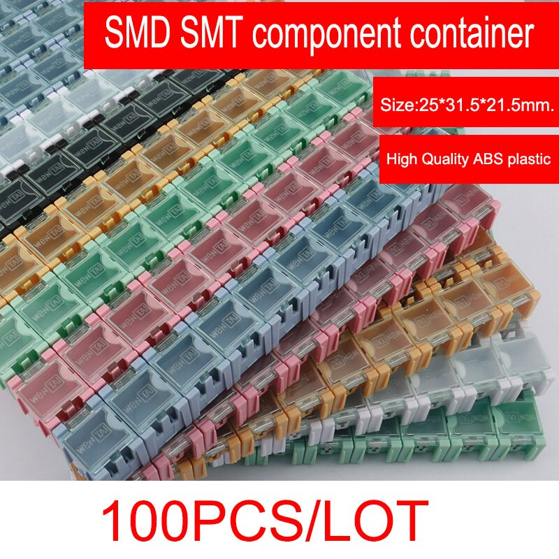 Novfix 100 Stks/partij Smd Smt Component Container Opbergdozen Elektronische Case Kit De 1 # Automatisch Opduikt Patch Doos