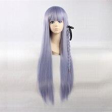 Danganronpa Kirigiri Kyouko Cosplay Wigs 80cm Long Straight Anime Wig Heat Resistant Synthetic Hair Purple Braided Party Wig