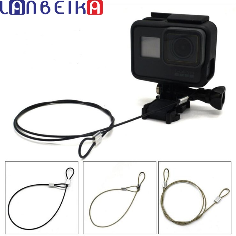LANBEIKA para GoPro accesorios 30/60cm correa de cordón de acero inoxidable para Go Pro Hero 7 6 5 4 Sesión 3 + SJCAM SJ4000 SJ5000 SJ6