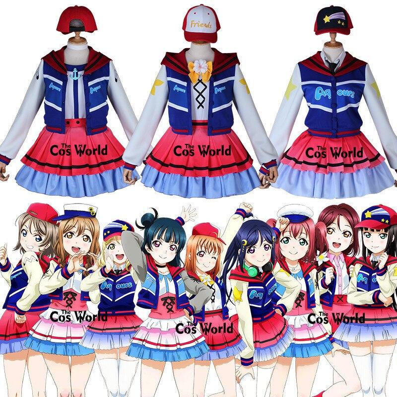 אהבה חי שמש Aqours 9 דמויות הבא נוצץ מעל את קשת Takami צ יקה קורוסאווה Dia שמלת Cosplay תלבושות