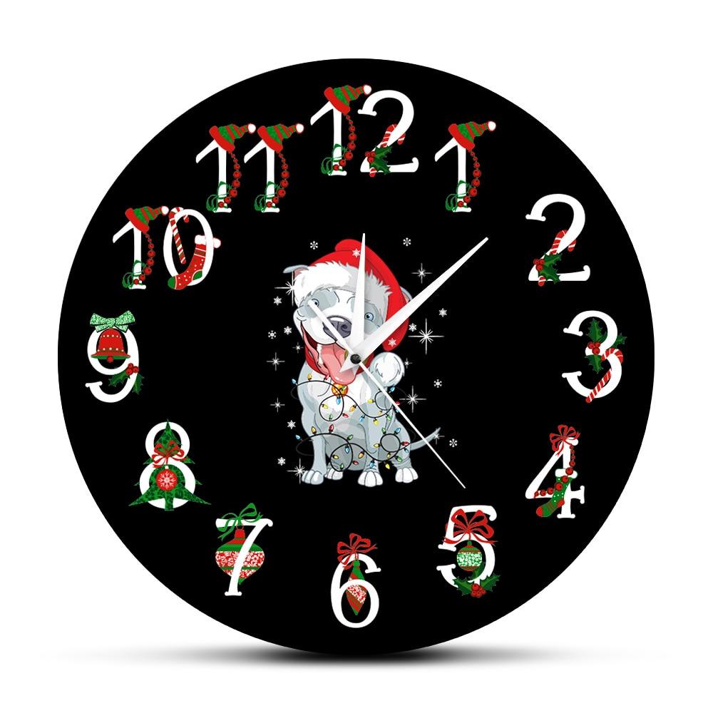Navidad Pitbull, perro del reloj de pared negro colgante cachorro decorativos relojes reloj de diseño moderno arte mural navideño decoración XAMS regalos