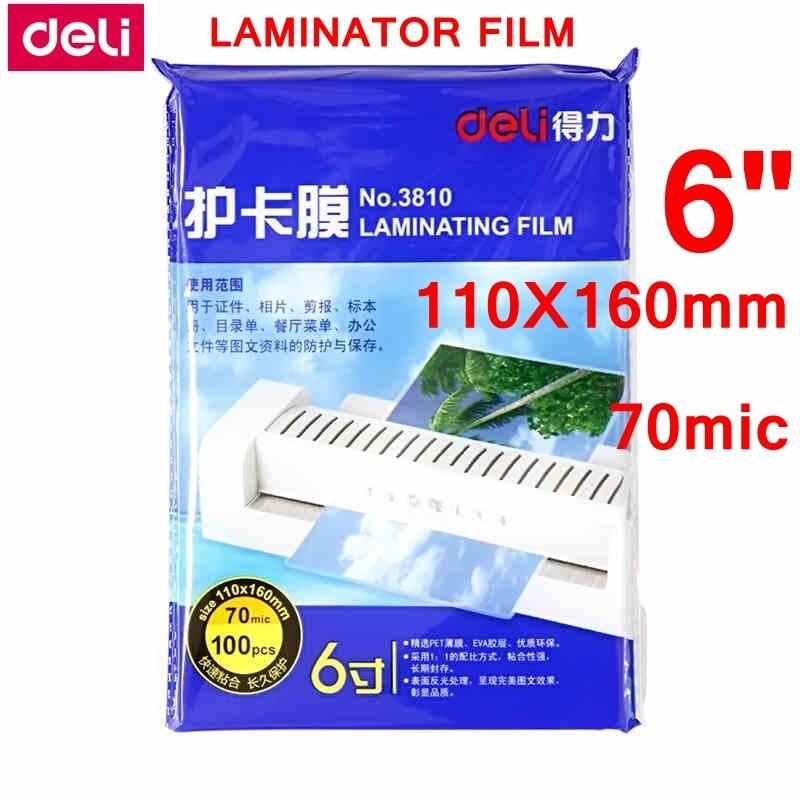 "100 unids/lote Deli 3810 bolsa caliente película de laminación 6 ""(110x160mm) tamaño 70 mic foto documentos película laminadora PET"