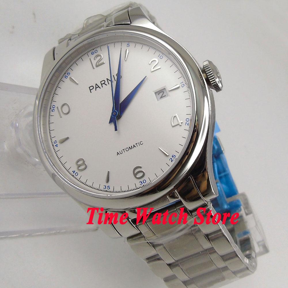 Parnis-ساعة رجالية من الياقوت ، 38 مللي متر ، مع مينا أبيض ، أزرق ، التاريخ ، 21 جوهرة حركة أوتوماتيكية ، 782