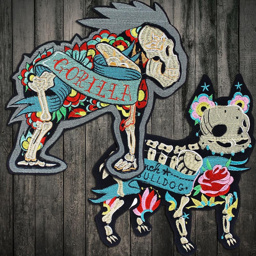 Bordado de Gorilla y parches con figuras de perros bordado flor calavera huesos Appliqued ropa camiseta decorada hierro en insignia de tejido de costura