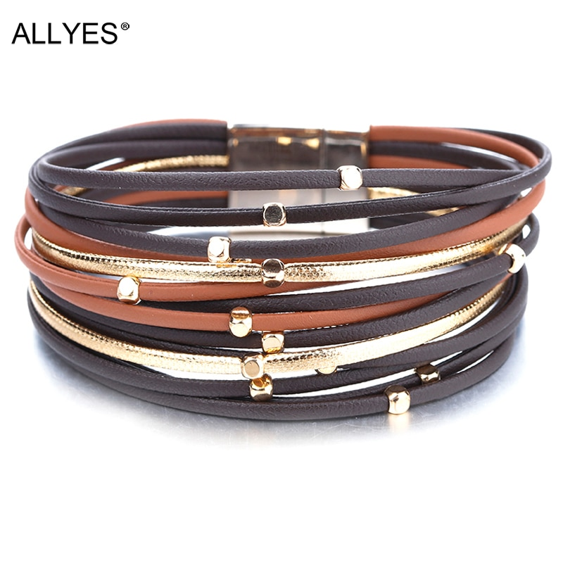 ALLYES Metal Beads Genuine Leather Bracelets For Women 2020 Fashion Slim Strips Boho Multilayer Wide Wrap Bracelet Femme Jewelry allyes tree of life charm pearl leather bracelets for women fashion ladies bohemian multilayer wide wrap bracelet female jewelry