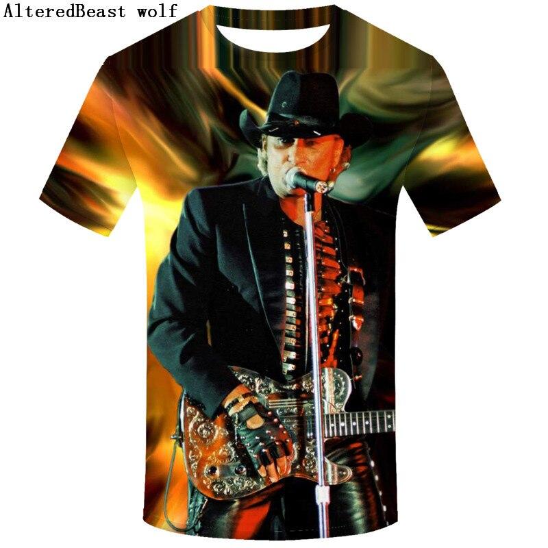 Brand Johnny Hallyday French Rock Elvis Presley Men T-shirt Short Sleeve O Neck Funny Harajuku Camiseta Men top tees Shirt homme