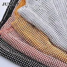 JUNAO 45*120 см блестящая прозрачная Серебристая сетчатая ткань со стразами, Хрустальная лента, стеклянная аппликация из страз, шитая металличес...