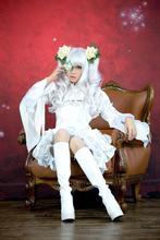 Anime Rozen Maiden Cosplay Rozen Maiden Cosplay Kirakishou Womens Partycosplay  Costume white dress for Halloween Freeshipping