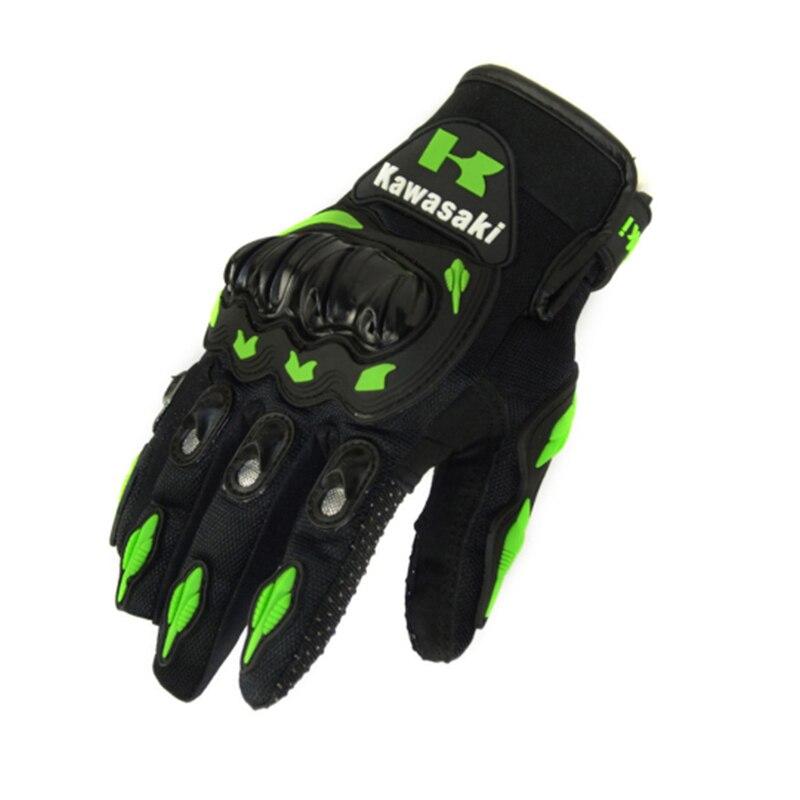 2016 Hot Sale 1 Pair Kawasaki Fashion New Full Finger Motorcycle Gloves Motocross Luvas Guantes Moto Protective Gears Glove