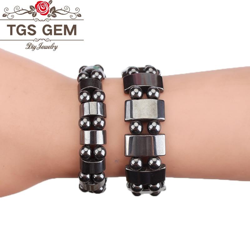 Браслет из натурального камня черный Магнитный гематит браслет для мужчин и женщин модные очаровательные браслеты для здоровья ювелирные изделия подарок