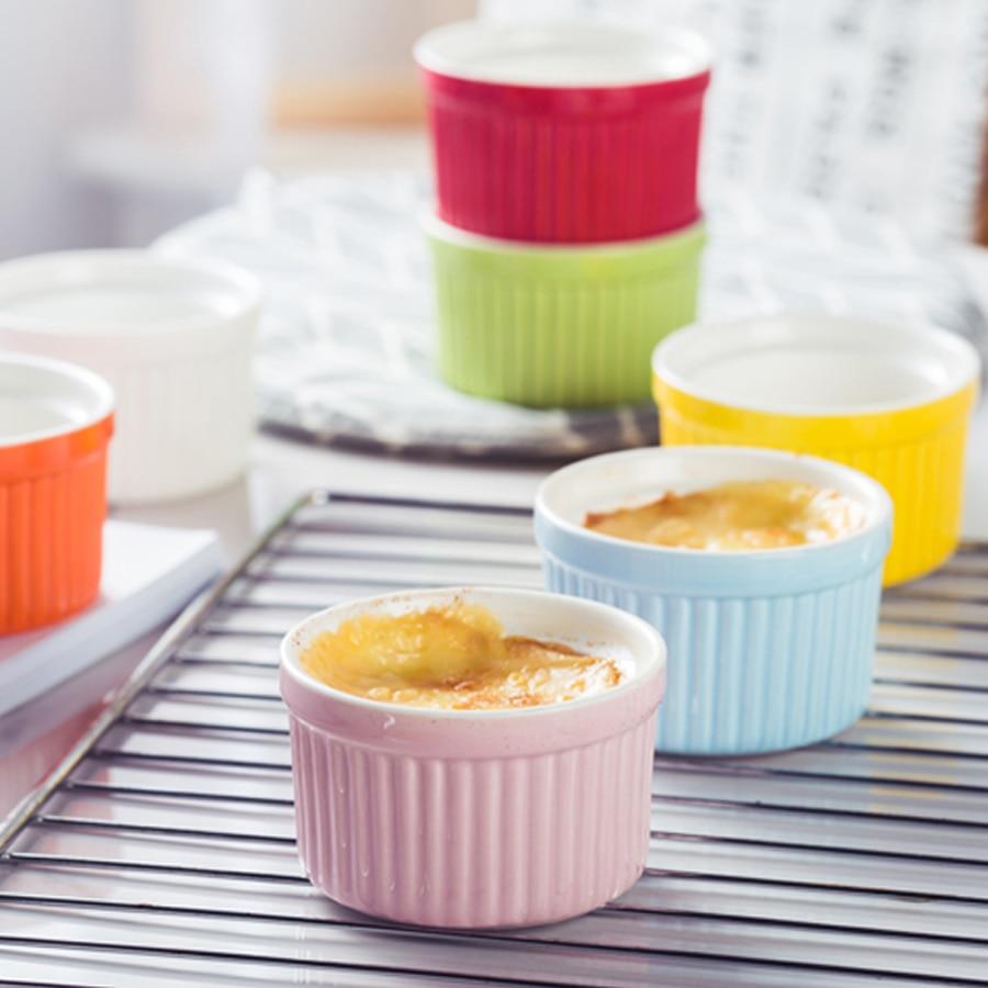 MUZITY Ceramic Souffle Bowls 3PCS/SET Porcelain Baking Bowls Creative Cake Cups Dessert Bowl