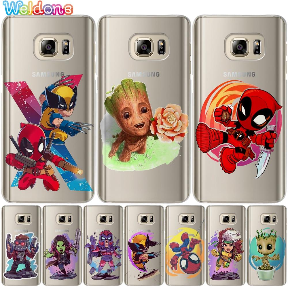 X Men-Groot Deadpool Wolverine Estrela da tampa do Caso Para Samsung S10 Lite S9 S8 Plus S7 S6 Borda A30 a50 M20 Note8 9 case capa Estojo