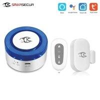 Tuya     sirene dalarme de securite pour maison connectee  wi-fi  433Mhz  application gratuite compatible avec les capteurs