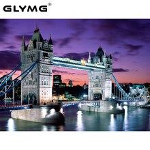 Glymg bordado bordado artesanato ponte de londres quadrado broca pintura diamante ponto cruz europeu decoração da sua casa