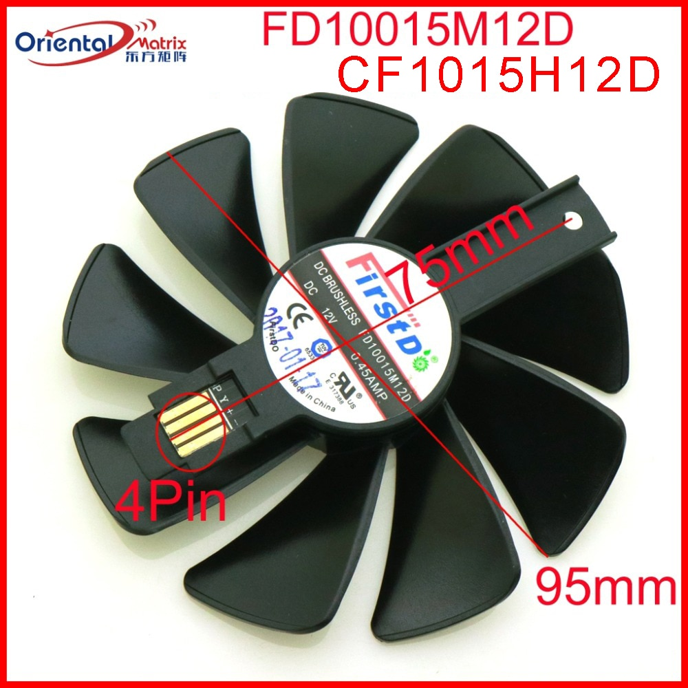 Free Shipping CF1015H12D FD10015M12D 12V 0.45A 95mm VGA Fan For SAPPHIRE RX590 RX580 RX570 RX480 RX470 Graphics Card Cooling Fan