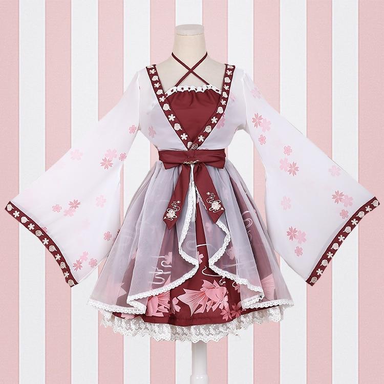 Lolita estilo chinês peixinho menina falso duas peças vestido impressão de uma peça vestido sakura celebração flor