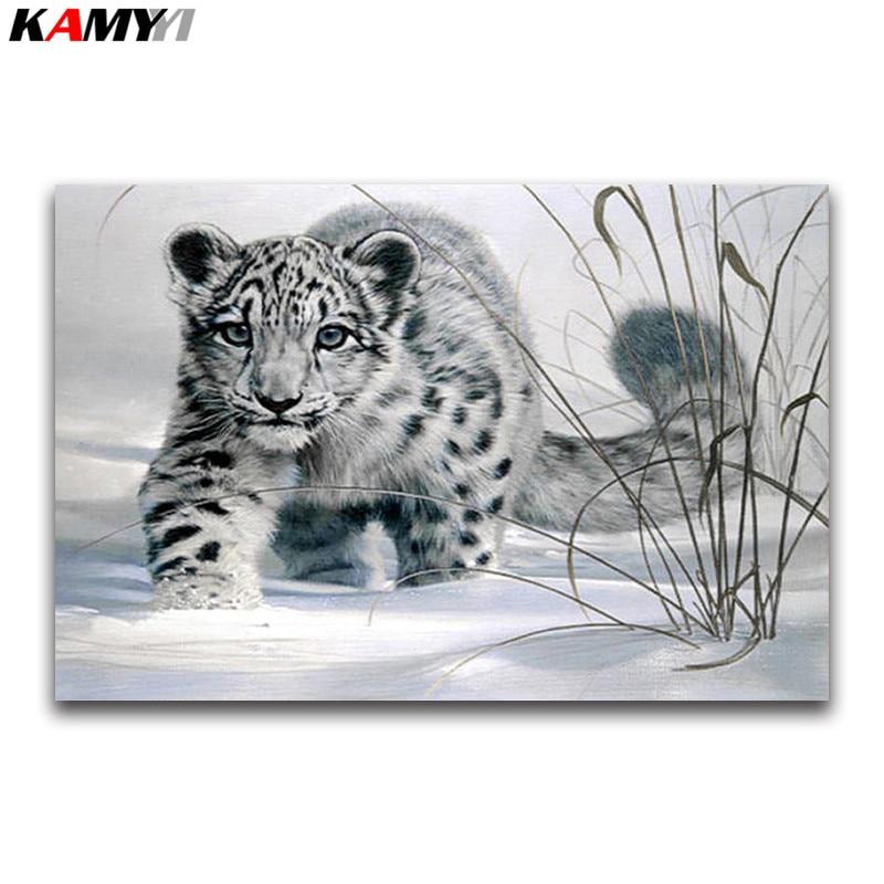 Kit de punto de cruz de pintura de diamante 5D Diy bordado de diamantes blanco cuadrado animal diamante diseño de mosaico para decoración del hogar nieve leopardo