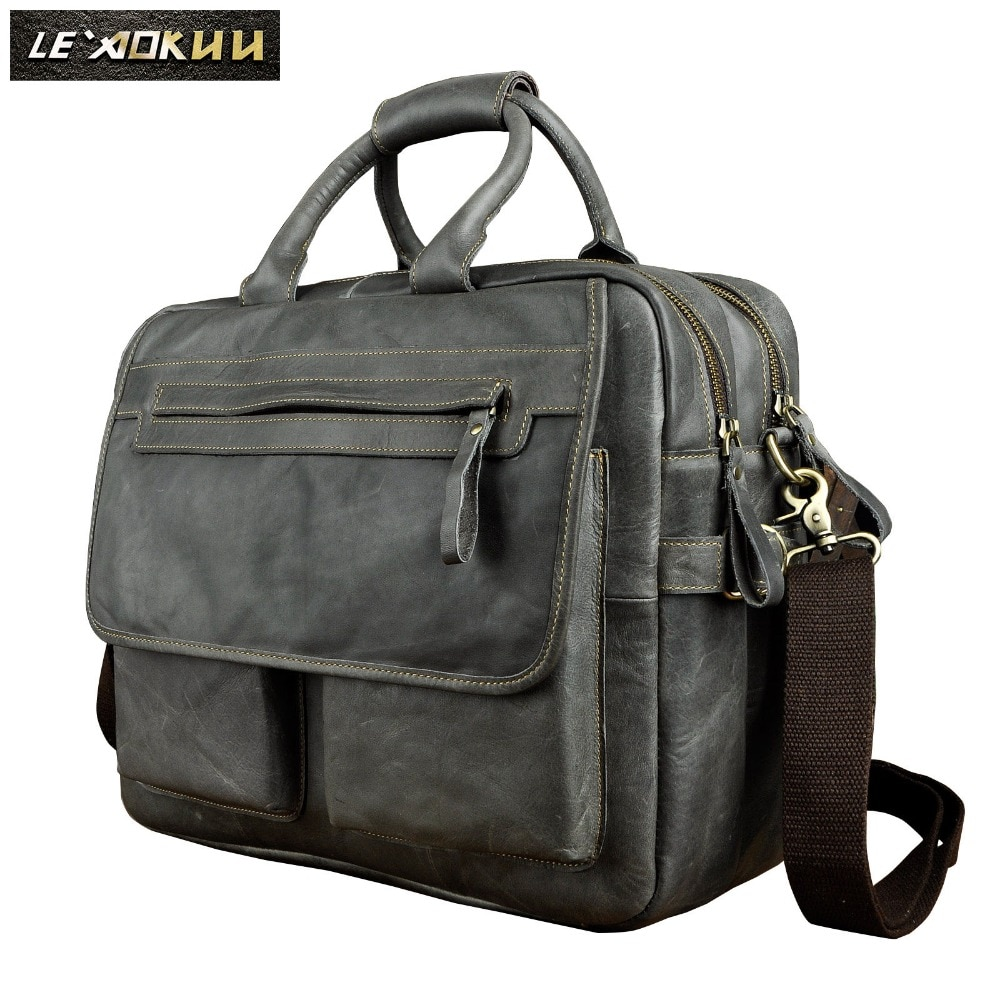 Genuine Leather Men Design Business Briefcase Laptop Document Case Fashion Commercia Portfolio Attache Messenger Bag Tote 2951-b