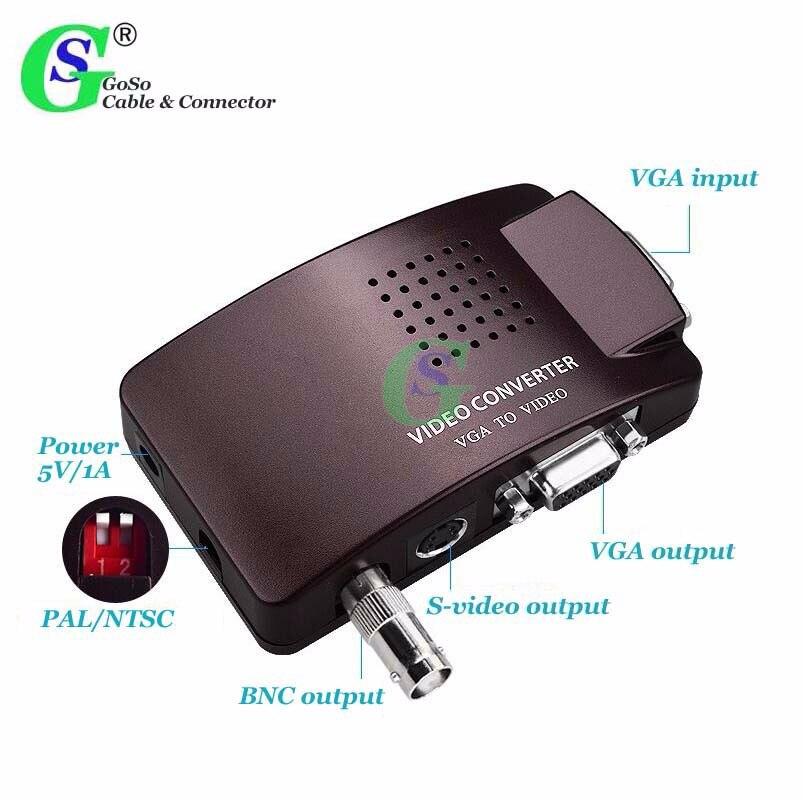Conversor De Vídeo Do Computador VGA para BNC VGA Gusuo S-video Box Monitor de vídeo Anfitrião PC Mac Laptop Conectado a TV AV adaptador