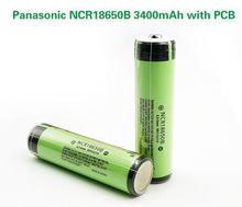 2 stks/partij Nieuwe Beschermd Originele Panasonic 18650 NCR18650B 3.7V 3400mAh Oplaadbare Batterij Lithium Batterijen met PCB